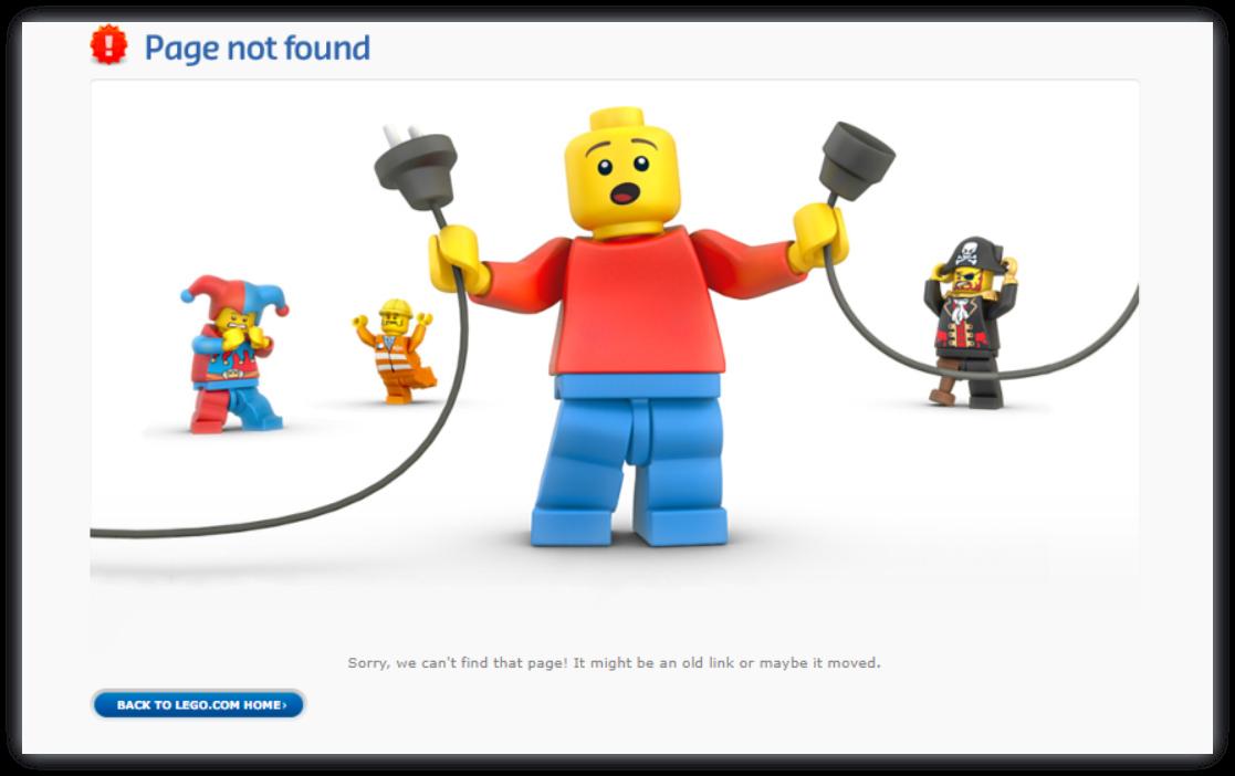 Сторінки 404 на сайті LEGO